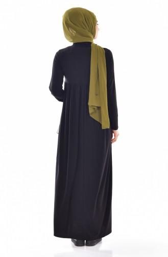 Geraffter  Basic Kleid  1852-01 Schwarz 1852-01
