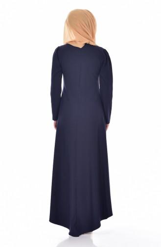 Navy Blue İslamitische Jurk 4098-07
