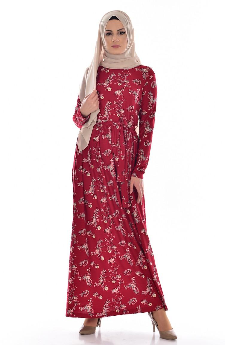 0083c9822d5e5 Çiçek Desenli Elbise 1642-02 Bordo