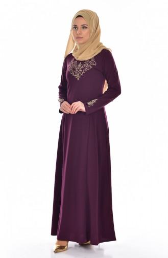 Embroidered Judge Collar Dress 4401-08 Dark Purple 4401-08