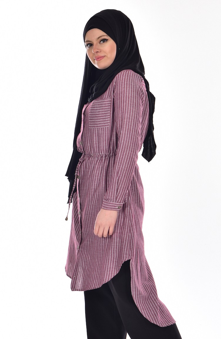 02aae458198 Striped Tunic with Buttons 51242-02 Burgundy 51242-02