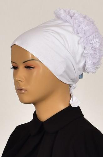 Sefamerve Bonnet antidérapant Froufrous en Coton 0201-01 Blanc Froufrous 0201-01