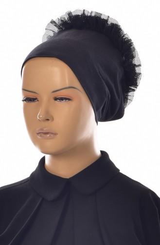Sefamerve Bonnet antidérapant Froufrous en Coton 0203-01 Noir Froufrous 0203-01