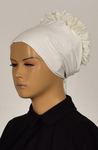 Sefamerve Lycra Frilly Non-Slippery Bonnet 0402-01 Cream 0402-01