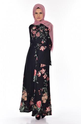 فستان بتصميم مورد مع حزام خصر  1644A-01