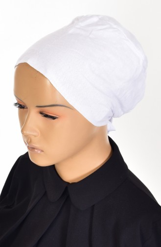 Rutschfester Baumwolle Bonnet 0101-01 Weiß 0101-01