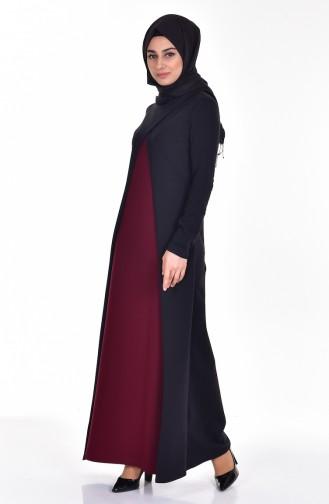 Claret red İslamitische Jurk 2895-02
