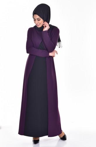 Takım Görünümlü Elbise 2895-05 Mor Siyah 2895-05