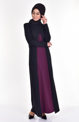 Takım Görünümlü Elbise 2895-08 Siyah Mürdüm 2895-08