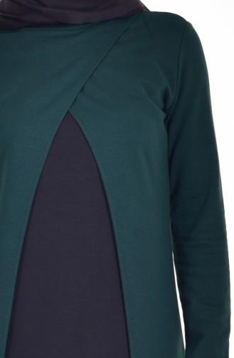 توبانور  فستان بتصميم موصول بقطعة 2895-03 لون أخضر زمردي وأسود 2895-03