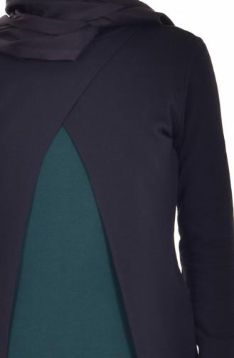 Takım Görünümlü Elbise 2895-04 Siyah Zümrüt Yeşili 2895-04
