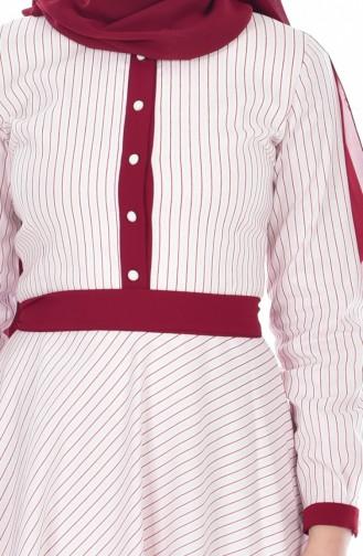 Robe a Rayure et Paillette 300029-01 Ecru Bordeaux 300029-01
