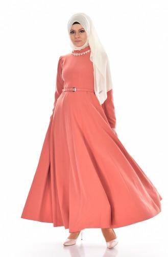Necklace & Belted  Dress  8112-06 Dry Rose 8112-06