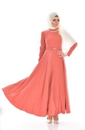 Hijab Kleid mit Halskette und Gürtel 8112-06 Rosa 8112-06