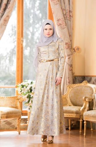 Robe de Soirée Jacquard Bordée de Perle 7974-02 Gold Bleu 7974-02
