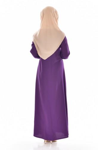 Viskon Düğme Detaylı Elbise 9012-09 Mor 9012-09