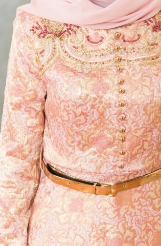 Robe de Soirée Jacquard Bordée de Perle 7974-03 Gold Rose 7974-03