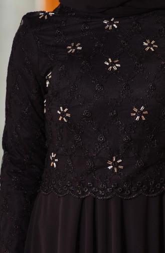 Black Islamic Clothing Evening Dress 8011A-02