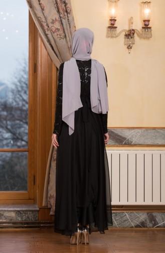 فساتين سهرة بتصميم اسلامي أسود 7944-02