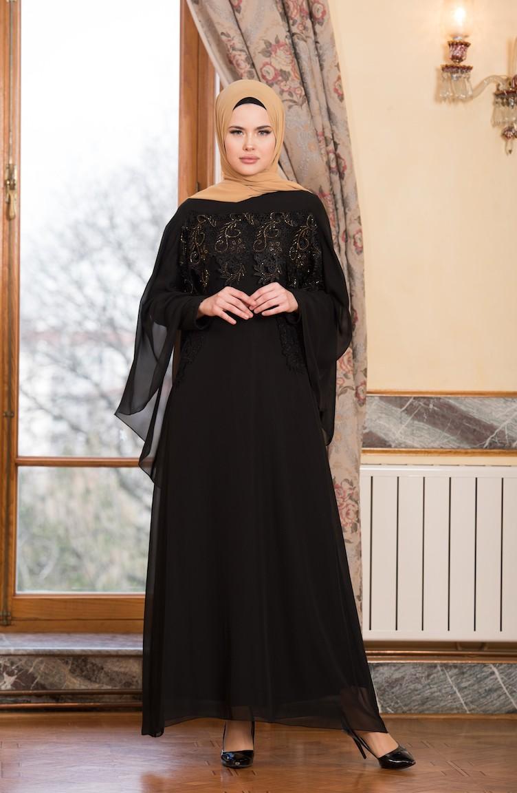 Black Islamic Clothing Evening Dress 52668 02
