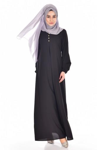 Viskon Düğme Detaylı Elbise 9012-01 Siyah