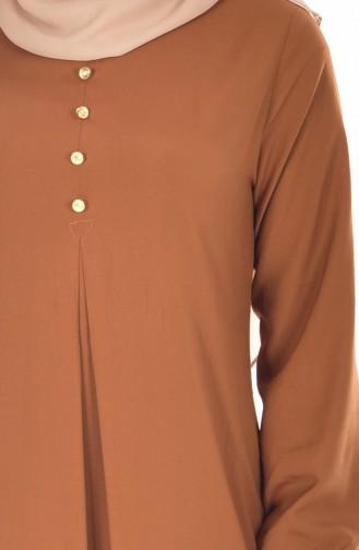 فستان فيسكوز بتفاصيل من الأزرار 9012-08 لون عسلي 9012-08