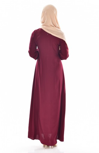 Viscose Button Detailed Dress 9012-03 Cherry 9012-03