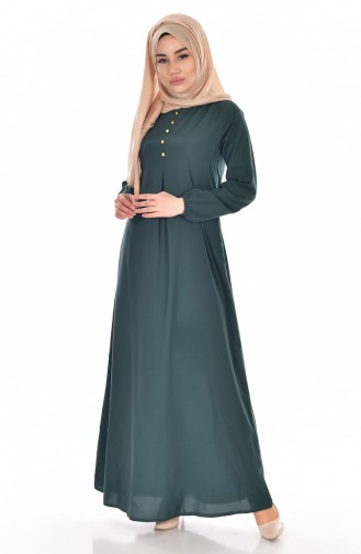 Viskon Düğme Detaylı Elbise 9012-05 Zümrüt Yeşili