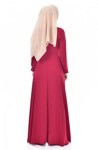 Robe Garnie Cuir 300046-01 Bordeaux 300046-01