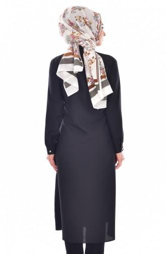 Tunika mit Krawattenkragen  9008-11 Schwarz 9008-11