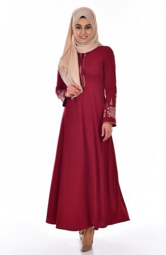 فستان بتفاصيل مطرزة ومعدنية  0507-04