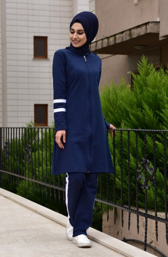 Zippered Tracksuit 18050-03 Navy Blue 18050-03