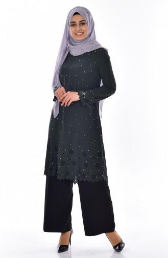 Tunique avec Perles Coupe Laser 50125-04 Khaki 50125-04