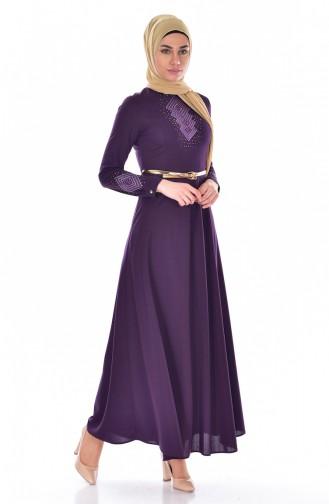 Besticktes Kleid mit Gürtel 0508-08 Lila 0508-08
