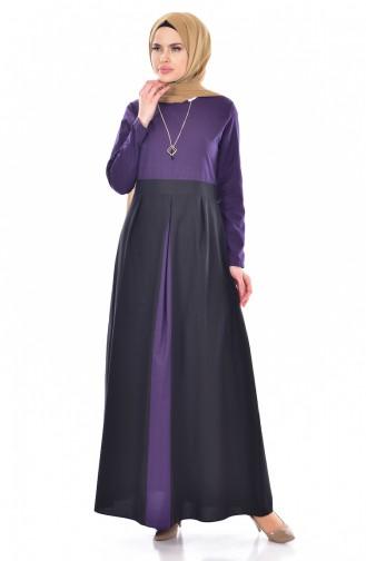 Patchwork Kleid mit Halskette  2265-08 Lila 2265-08