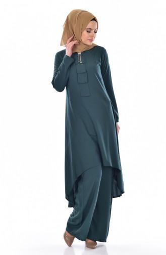 Tunik Pantolon İkili Takım 9005-04 Zümrüt Yeşili 9005-04
