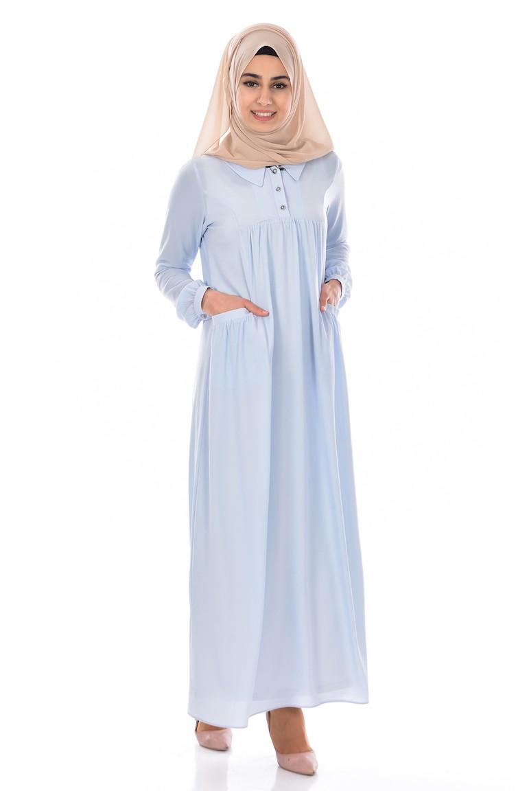 Kleid mit Hemdkragen 18-18 Baby Blau 18-18