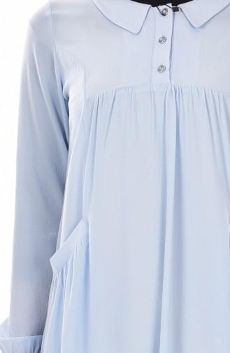 Robe Col Chemise 4009-07 Bleu Bébé 4009-07