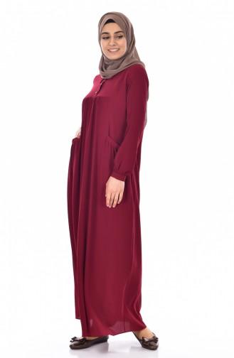 Gömlek Yaka Elbise 4009-01 Bordo