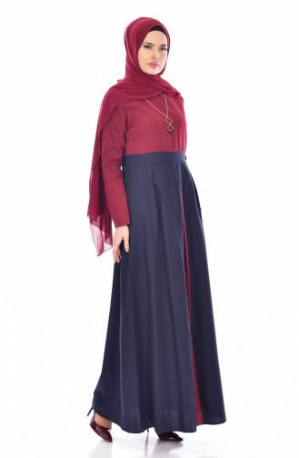 Patchwork Kleid mit Halskette  2265-10 Weinrot 2265-10