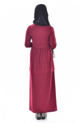 Robe avec Collier 1081-06 Bordeaux 1081-06