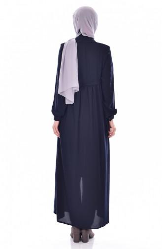 Abaya Bordée a Fermeture 0005-01 Bleu Marine 0005-01