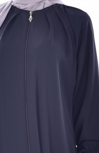 Abaya Plissé a Fermeture 0506-01 Bleu Marine 0506-01
