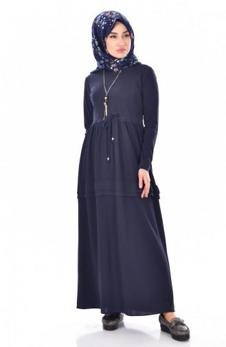 Robe avec Collier 1081-02 Bleu Marine 1081-02