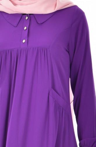 فستان بتصميم ياقة قميص 4009-05 لون بنفسجي 4009-05