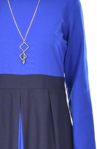 Robe Garnie avec Collier 2265-06 Bleu Roi 2265-06