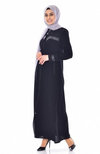 Abaya mit Reißverschluss  0523-01 Schwarz 0523-01