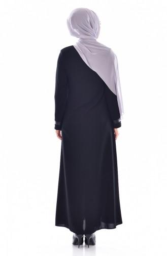Abaya a Dentelle et Fermeture 0523-01 Noir 0523-01