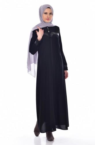 عباءة بتصميم سادة مع سحاب للإغلاق  0523A-01