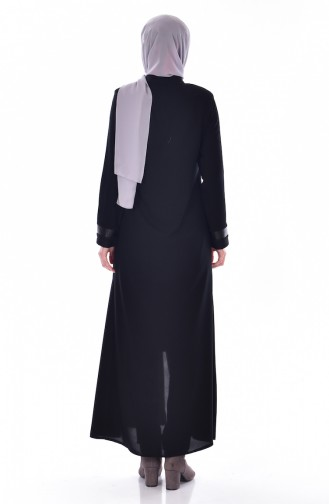 Abaya mit Reißverschluss 0523A-01 Schwarz 0523A-01